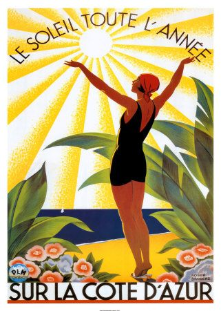 Cote D' Azur, French Riviera travel poster, Have this on my wall. Love the colors.