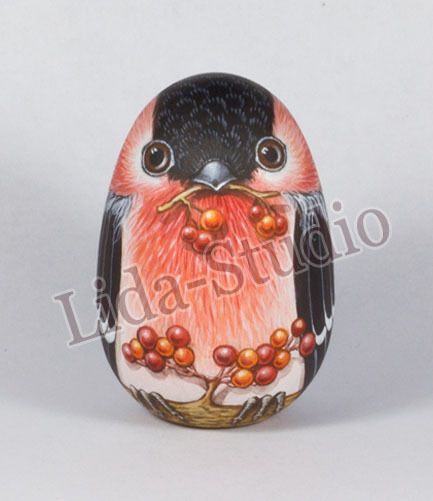"Egg. 6cm. ""Bullfinch"" by ""Lida-Studio"". Artist: L.Romanova. in 