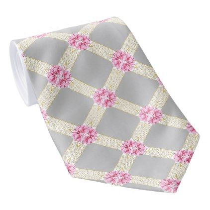 Flowers Stripes Trellis Pattern Neck Tie - pink gifts style ideas cyo unique