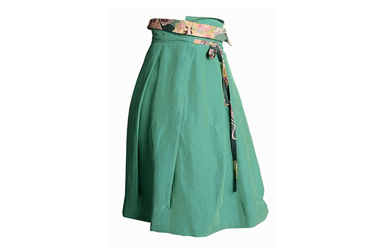 C.44 Silk and linen wrap skirt with pleats and patterned Japanese cotton detail.