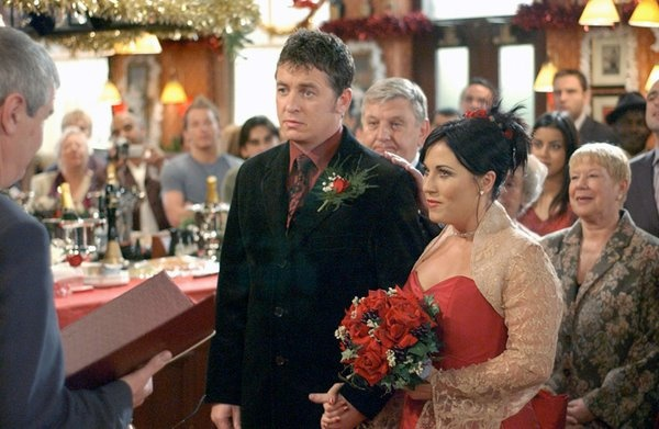 Alfie and Kat's wedding in the Vic.  Played by Shane Richie and Jessie Wallace.