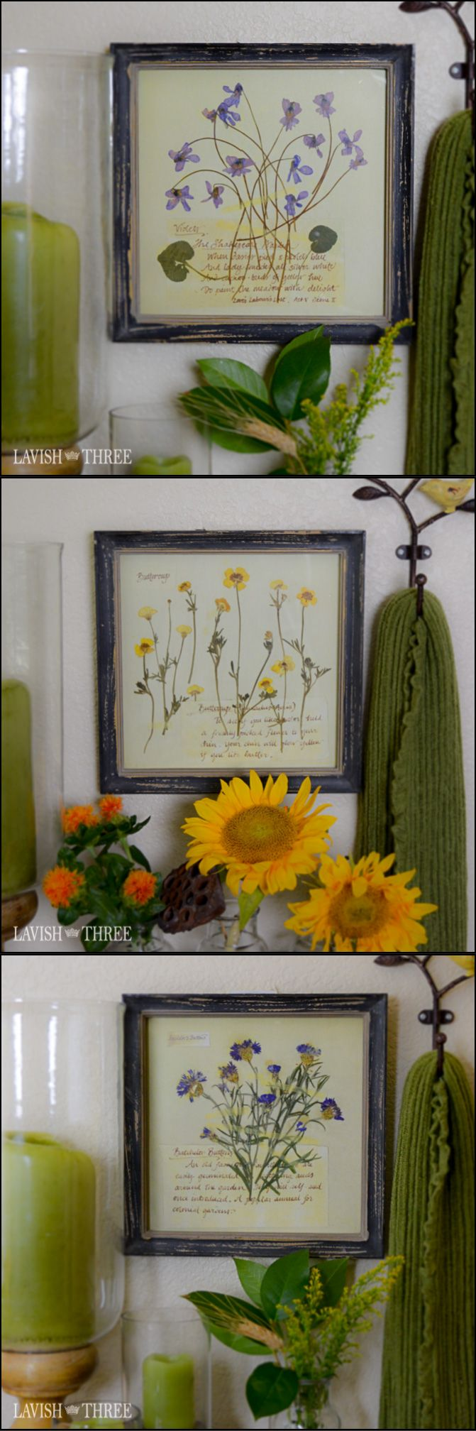 Bring old-world charm into your environment with our Floral Botanical framed prints. Reminiscent of little notes and sentiments inscribed on sheets of parchment along with the pressed wildflowers gathered, these prints are lovely alone, displayed in pairs, or as a collection. The perfectly tattered look of the frames creates a time-worn shabby chic appeal.