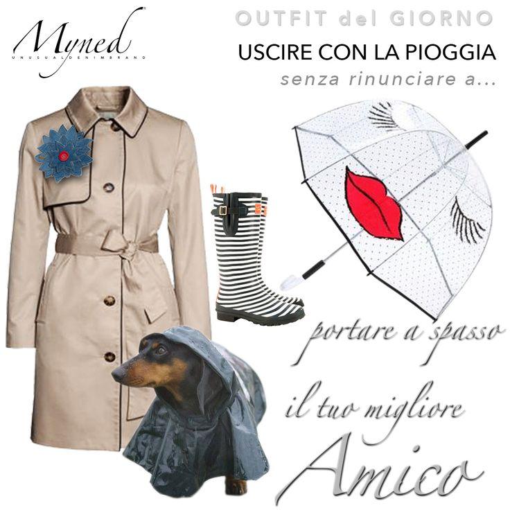 Unusual Denim Rainy Day #denim #outfit #myned #unusual #dog #rainyday #rain #umbrella #trenchcoat #rainyboot www.myned.it