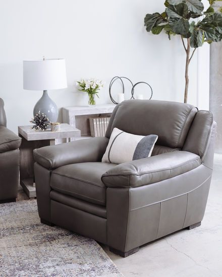 Casual Leather Chair In Charcoal Contemporary Style Pinterest