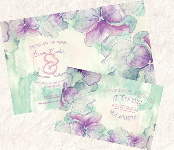 Watercolor Green and Magenta Floral Wedding by SixDaysCreations