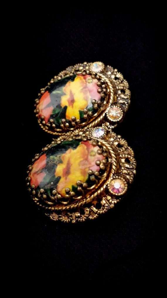 Beautiful Antique Floral Clip Earrings