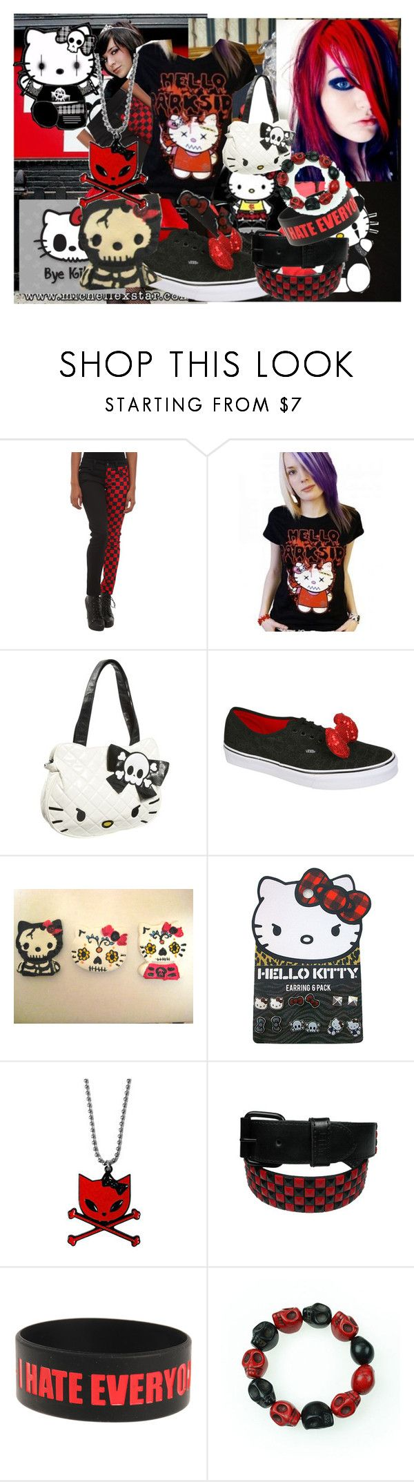 """Bye Bye Darkside kitty and Hello Kitty"" by darkpulse ❤ liked on Polyvore featuring Hot Topic, Hello Kitty, Vans, Poizen Industries, emo and hellokitty"