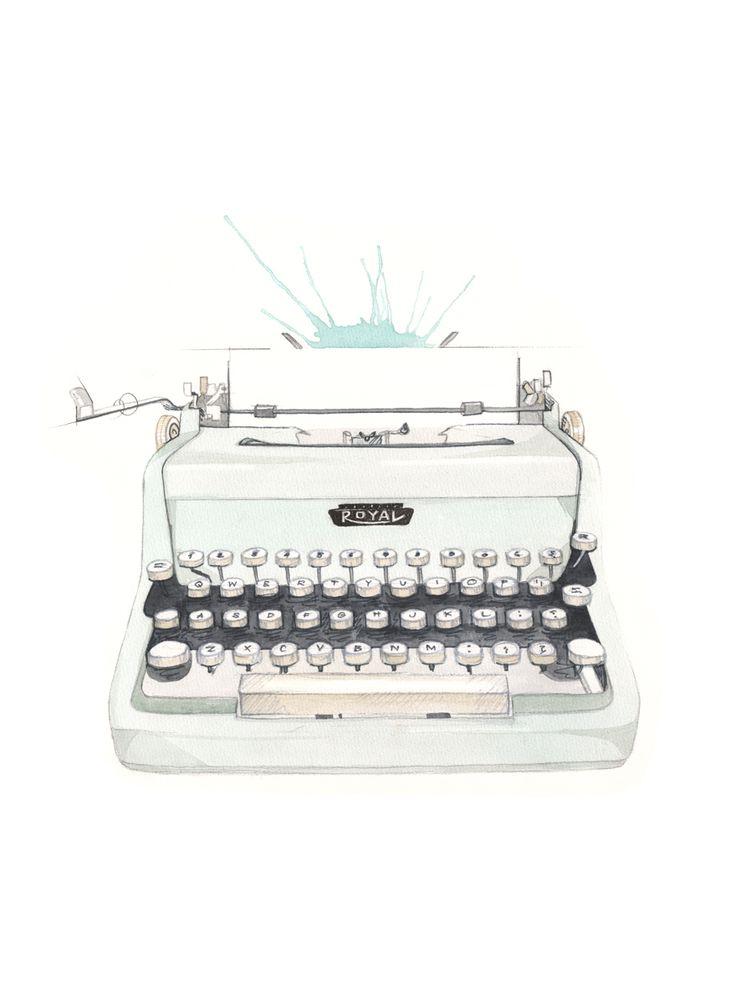 """Skrivemaskin"" (Vintage type writer)  Copyright: Emmeselle.no  Illustration by Mona Stenseth Larsen"