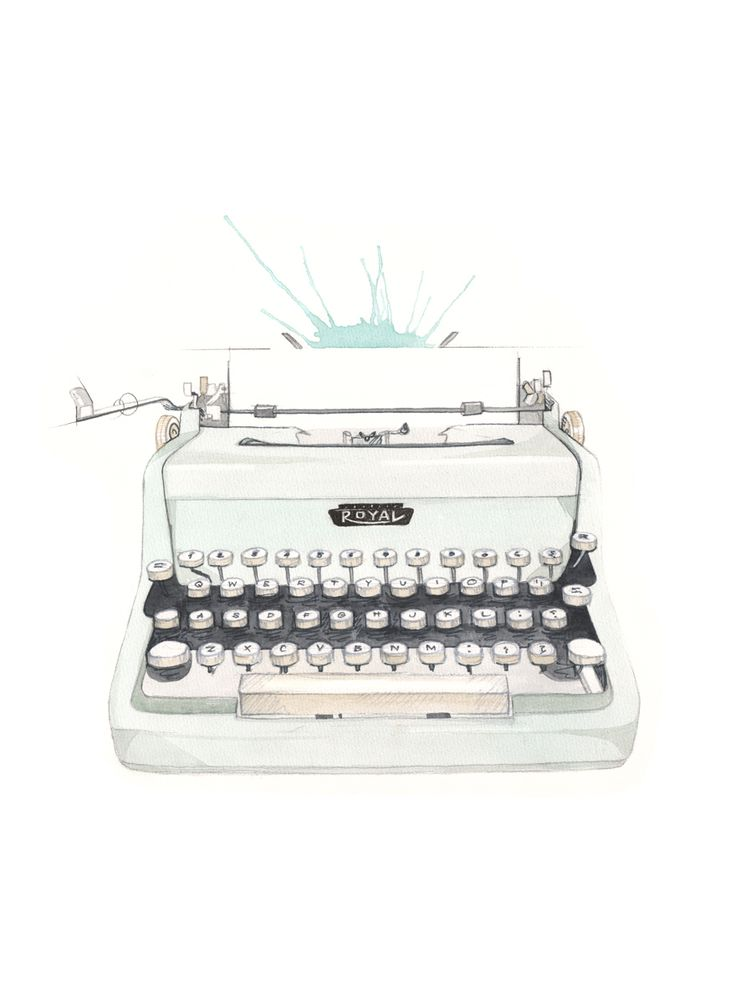"""Skrivemaskin"" (Vintage type writer)  Copyright: Emmeselle.no  Illustration by Mona Stenseth Larsen"