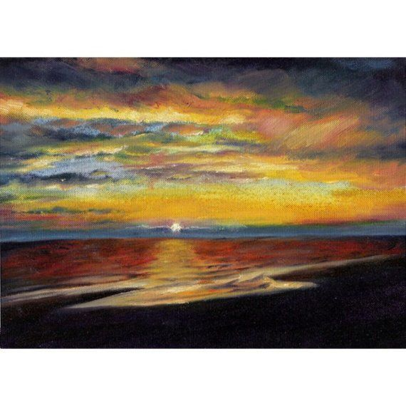 Original oil painting of sunset seascape Blackpool beach on Etsy, £90.00