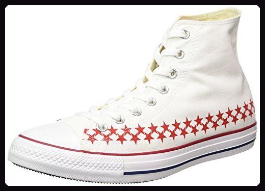 Converse Unisex-Erwachsene Chuck Taylor All Star Hightop Sneaker, Weiß/Rot, 44.5 EU - Sneakers für frauen (*Partner-Link)