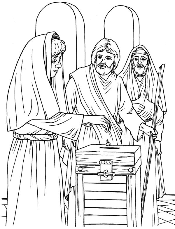 the widow's mite coloring page for children | The Widow's Offering