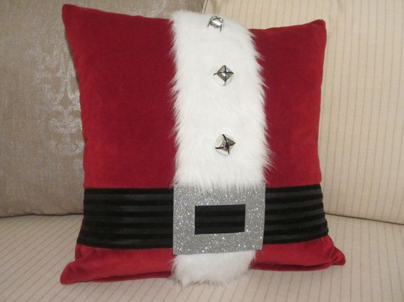 Christmas Pillow Cover, Santa Pillow Decoration, High End Red Decorative Throw Pillow, Luxurious Velveteen, Silver or Gold Bells/Buckle 18in...
