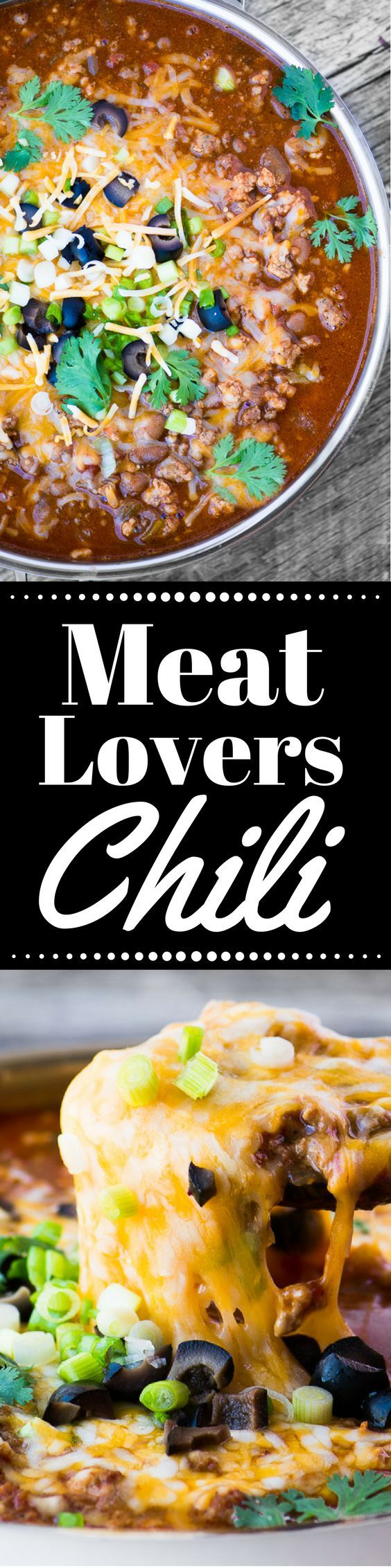 Meat Lovers Chili is hearty enough to satisfy the biggest of appetites! ~ http://theviewfromgreatisland.com