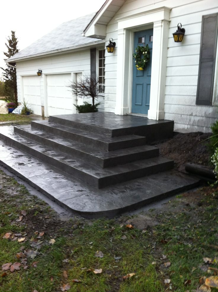 Rough Cut Stone Stamped Concrete Steps In Delaware Ontario