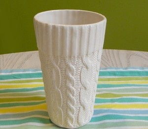Cable knit Ceramic Cup - Tall!