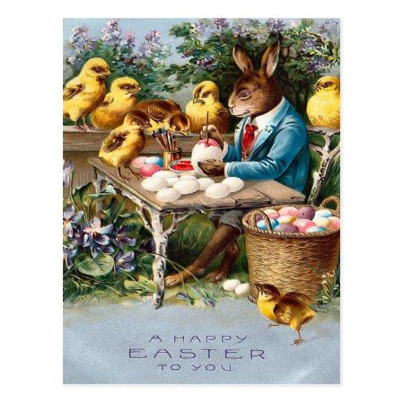 Vintage Easter Bunny Postcard - tap to personalize and get yours