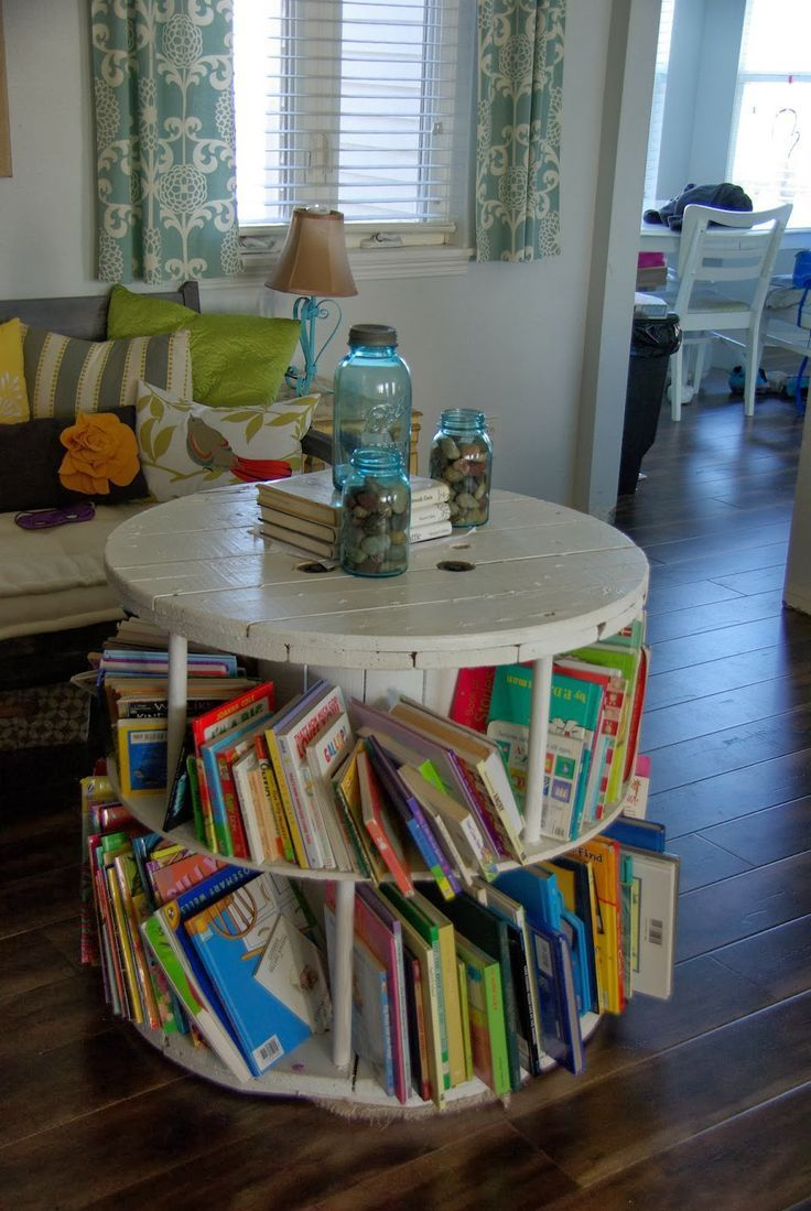 old spool turned into book shelf. Upcycling an old spool into a great book case. This furniture hack adds storage, function and style. Used in a kid's space for their books. but can be used anywhere in the home.