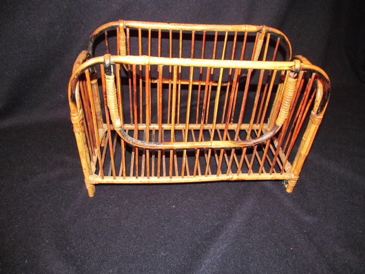 "Vtg Bamboo Magazine Rack Mid Century Double Handles Natural 14.75"" L x 10.25"" H x 6.75"" W EUC 70's Tropical by ThenForNow on Etsy"
