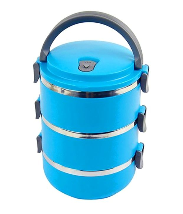 Priya Trading Multipurpose 3 Jar Round Stainless Steel Lunch Box In SkyBlue Color 2100 Ml