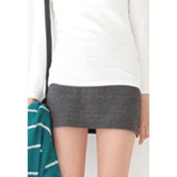 Modern style high elasticity solid color cotton blend women s skirt