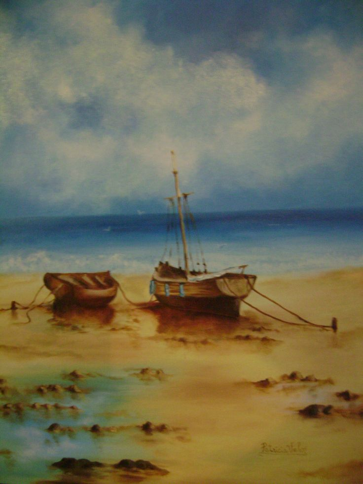 """Artista: Patricia Valor- """"solos en la playa"""" oleo 50 x 70cm"""