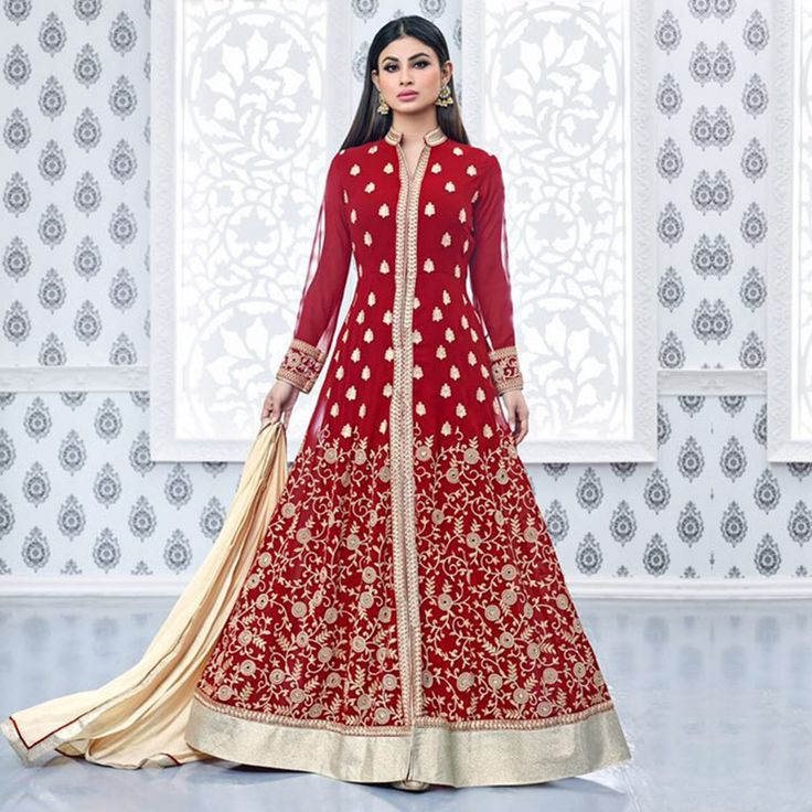 Buy Red Floor Length Anarkali Suit for womens online India, Best Prices, Reviews - Peachmode