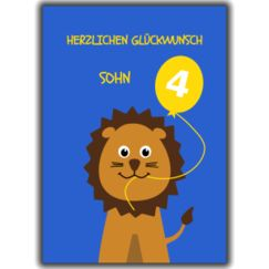 Herzlichen Glückwunsch Sohn. Animal age specific birthday cards for young german relations. 4th birthday lion.