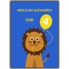 Herzlichen Glückwunsch Sohn. Animal age specific birthday cards for young german relations. 4th birthday lion.