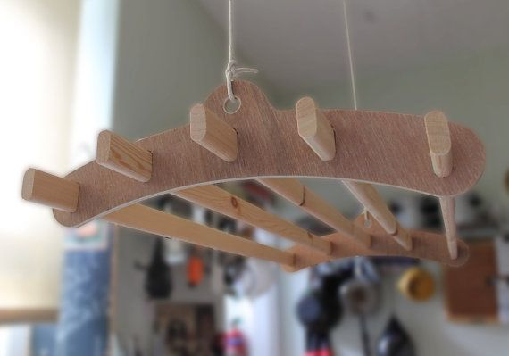 5 Lath Wooden Hanging Clothes Drying Rack or Pot Rack - Ceiling Mounted Plywood Winter Dyke