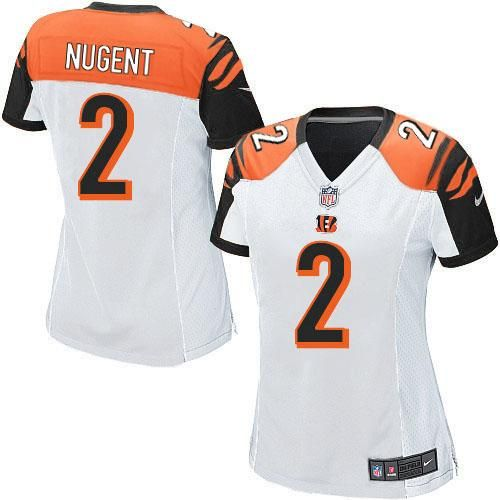 Nike NFL Cincinnati Bengals #2 Mike Nugent Limited Women White Road Jersey Sale