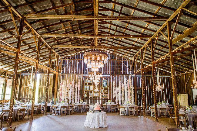 California Barn Wedding - beams and long hangy things
