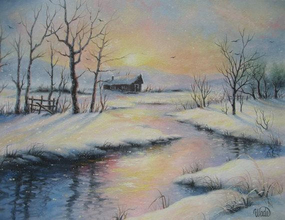 Peaceful Winter Oil Painting, 16X20 snowy cabin winter ...