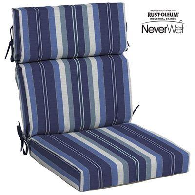 allen + roth Aqua Stripe NeverWet™ Woven High-Back Chair Cushion