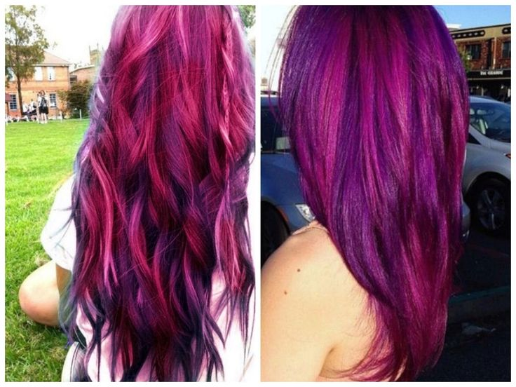 Light Brown Hair With Red Purple Highlights Dark Purple Highlights ...