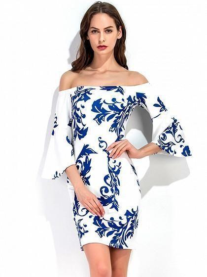 1063dc425e1 White Off Shoulder Porcelain Print Flare Sleeve Bodycon Dress – risechic.com