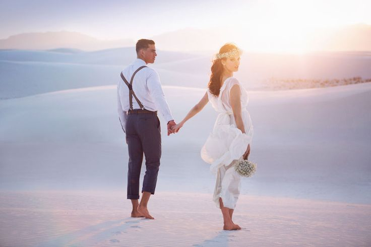 Gorgeous gown from Teresa Romero Atelier | Boho Chic Desert Bride In New Mexico's White Sands National Monument | Photograph by Tony Gambino Photography  http://storyboardwedding.com/boho-chic-desert-bride-new-mexico-white-sands-national-monument/