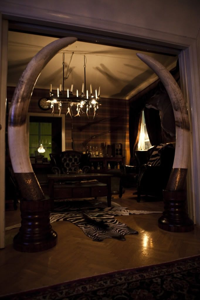 I love this trophy room entry way