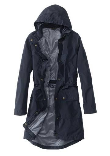 "A longer women's rain jacket by Barbour® for those times when you're determined to conquer a rainy day. Waterproof exterior keeps out damp. Raindrop print interior. Internal drawcord for custom fit. Detachable hood. Roomy handwarmer pockets. In navy. Polyester. Washable. Imported.  <br />Sizes 4-14; about 37½"" long."