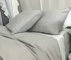 Stone Grey Duvet Cover with Duck Egg Blue Piping