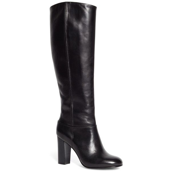 Brooks Brothers Tall Leather Stacked Heel Boots found on Polyvore