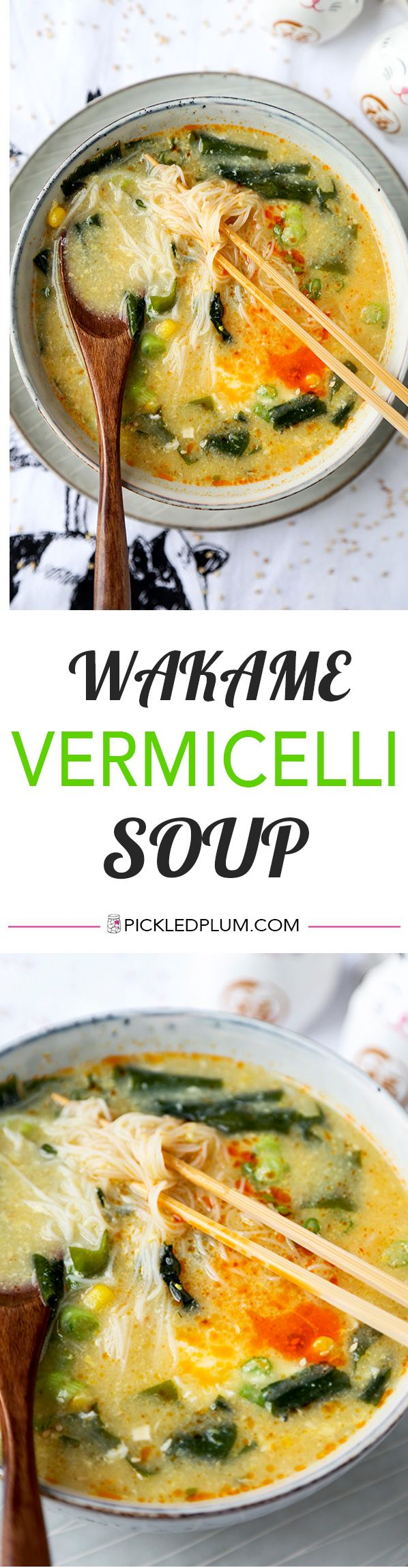 Wakame & Vermicelli Soup - This is a comforting, low caloric wakame and vermicelli soup, perfect for those looking for healthier snack options! Ready in 10 minutes from start to finish. Recipe, healthy, noodle soup, seaweed, snack | pickledplum.com
