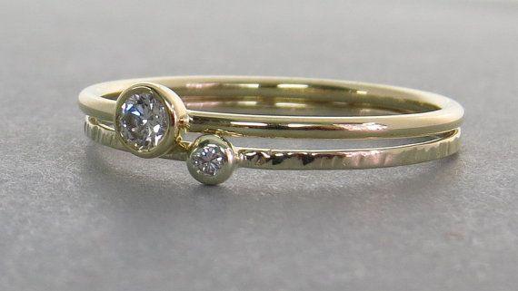 Diamante anillo de oro Simple anillo de compromiso anillo de