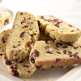Cranberry Almond Biscotti: The perfect crunchy snack, studded with tart cranberries and earthy almonds.