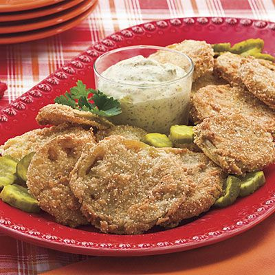 Fried Green Tomatoes Recipe With Bread-and-Butter Pickle Rémoulade | This classic Southern staple was named one of the Top-Rated Recipes of 2009. Serve alongside Bread-and-Butter Pickle Rémoulade specially formulated by Atlanta chef Linton Hopkins.