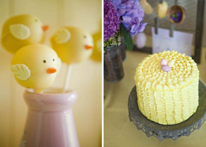 yellow cake pops and ruffle cake