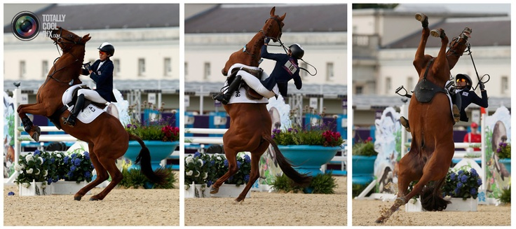 Day 15 - Combo picture shows South Korea's Jung Jinhwa riding Foot Perfect falling during the riding event of the men's modern pentathlon during the London 2012 Olympics at Greenwich Park. MIKE HUTCHINGS/REUTERS