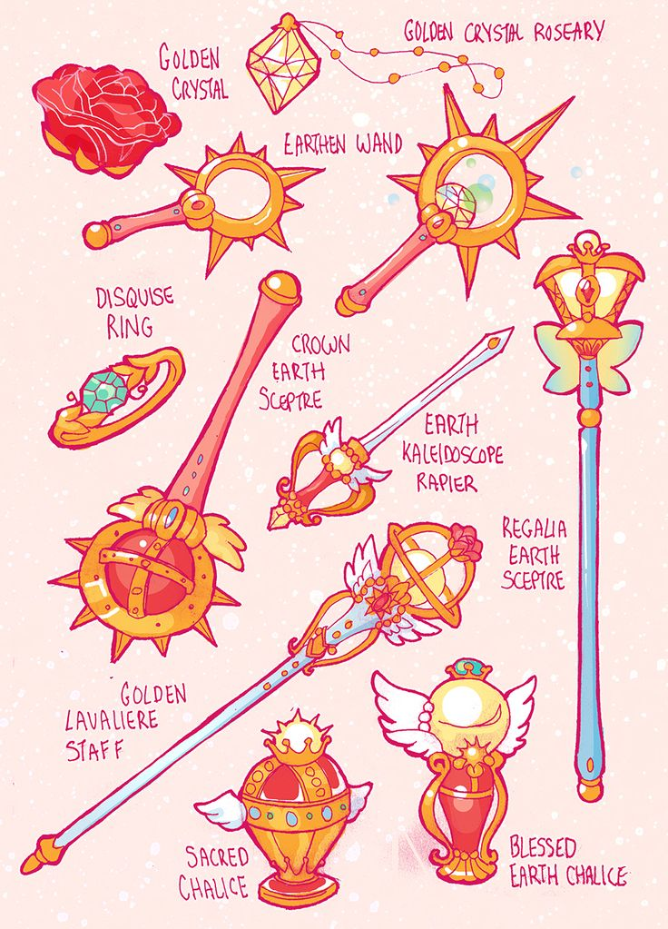 earthguardianmamoru: – Sailor Items and Weapons for all 5 arcs My third page of sailor items is finished! This one is the weapons.For the gender swap Sailor Moon comic Earth Guardian Mamoru. **Btw Saturn and Pluto are switched intentionally, check out my FAQ for more info about it ** These designs are all super cute.