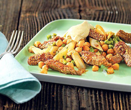 Émincé de bœuf au curry et à la crème acidulée