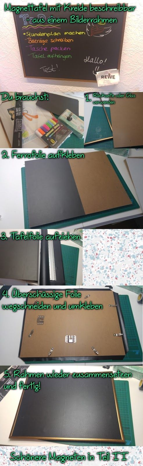 Mischmaschquatsch: DIY: Magnetpinnwand mit Kreide beschreibbar